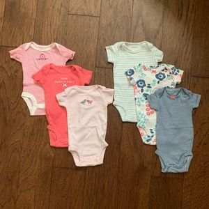Bundle of 6 newborn SS bodysuits